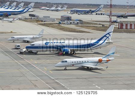MOSCOW, RUSSIA - APRIL 15, 2015: Aircraft Boeing 737-400 (VP-BCK) Atran airlines on the tarmac of the airport Sheremetyevo