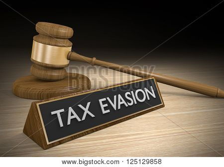 Tax evasion through illegal schemes and breaking laws, 3D rendering