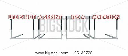 Life is Not a Sprint its a Marathon Jumping Hurdles 3d
