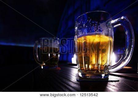 beer in dark room