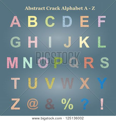 Modern Vector Crack Alphabet Capital letter. Crack Font. ABC uppercase Crack Letters. Modern crack pattern Lettering. Crack Alphabet capital letter