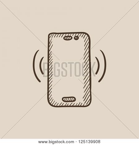 Vibrating phone sketch icon.