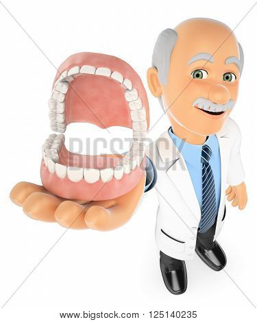3d medical people. Dentist showing a denture. Isolated white background.