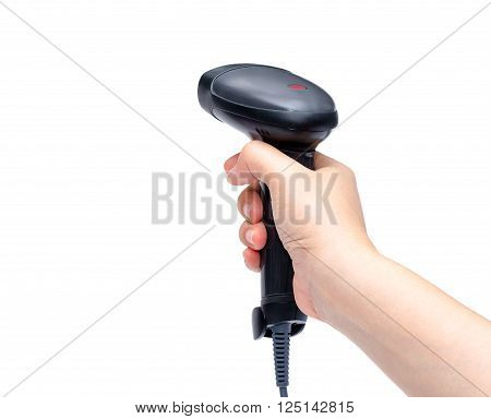 Woman hand holding barcode scanner over white background
