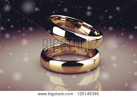 The beauty wedding rings (high resolution 3D image).3D illustration