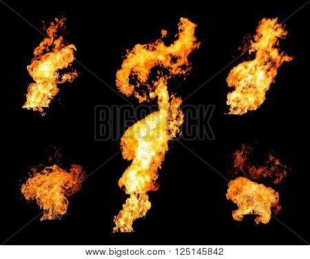 Collection of gas flare spurts of fire raging flame isolated on black photo set