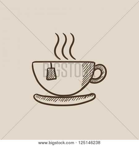 Hot tea in cup sketch icon.