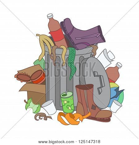 Overflowing trash recycle bin. Waste have been disposed improperly around the dust bin. Garbage can is full of trash. Trash on the ground. Vector Illustration
