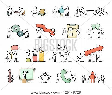Business icons set of sketch working little people with gear arrow. Doodle cute miniature scenes of workers. Hand drawn cartoon vector illustration for business design and infographic.