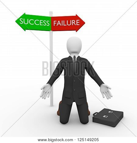 Puzzled businessman on knees against of two signs of Failure and Success