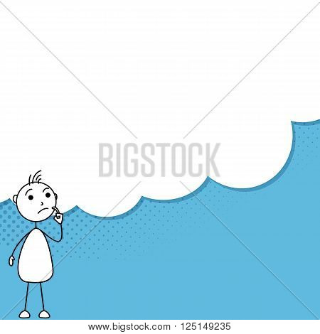 Illustration of Stick man with a thought bubble