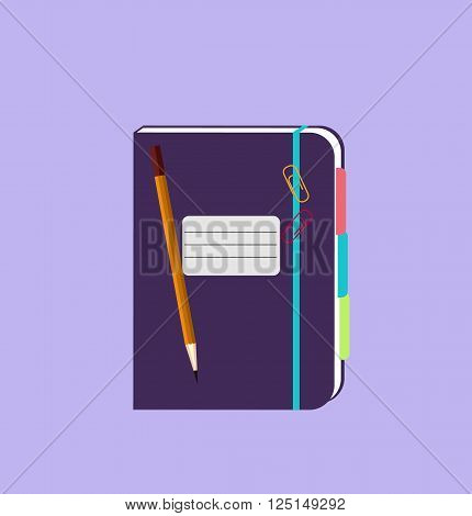 Daily notepad isolated design flat. Notebook paper, notepad icon, notepad paper, notepad for business, daily planner, diary page journal, organizer or notepad personal, pencil and notepad illustration