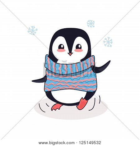 Animal penguin design flat. Bird penguin vector, cartoon polar animal winter isolated, penguin in scarf, wild penguin character illustration