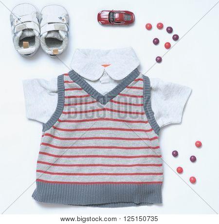 top view set of fashion trendy stuff for baby boy