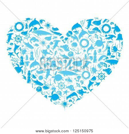 blue heart with sea silhouette on a white background