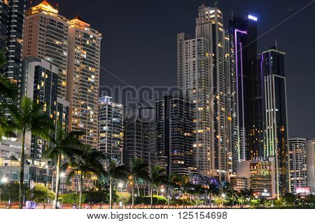Panama City Panama - August 29 2015: Panama city skyline is seen at night on August 29 2015 in Panama Central America