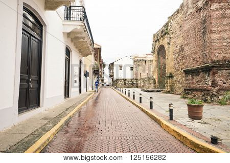 Streets of the old colonial Casco Viejo district on a rainy day in Panama city Panama Central America