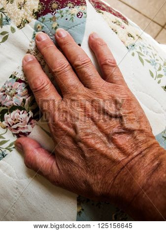 A 60 year old human hand showing the age.
