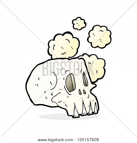 cartoon dusty old skull
