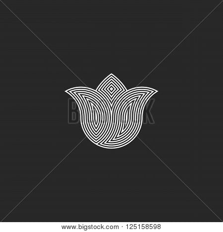 Tulip flower logo monogram sacred geometry esoteric harmony graphic emblem balance energy buddhism sign