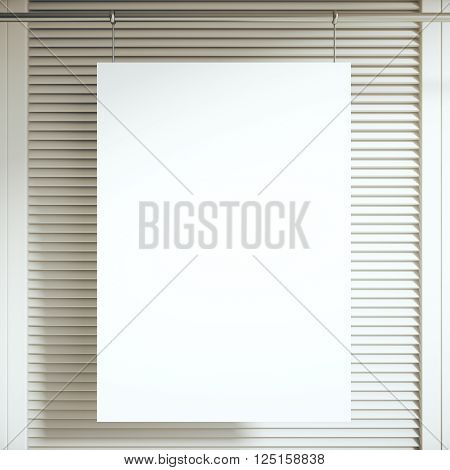 Blank white poster hanging in front of light blinders. Mock up 3D Rendering