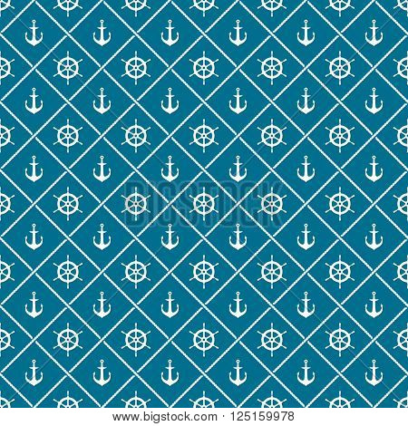 Anchors And Yacht Boat Helm Rudder With Crossing Sea Ropes Seamless Pattern. White On A Blue Colors.