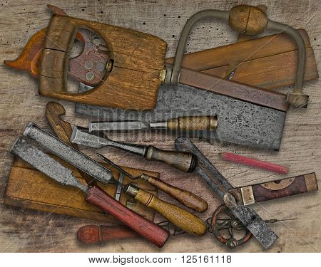 vintage woodworking  tools over wooden bench