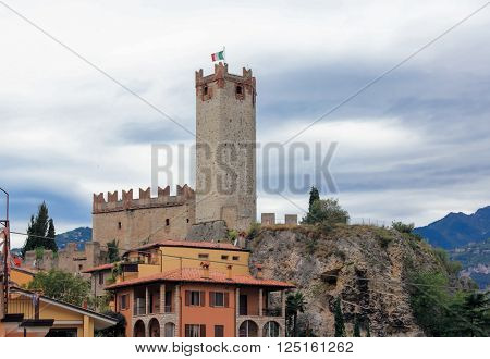 fragment of the fortress wall and watchtower of the Scaliger Castle in Malcesine ** Note: Soft Focus at 100%, best at smaller sizes