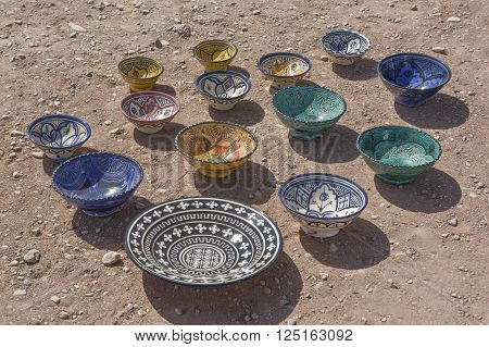 Display of Potter seller on the ground Ksar Ait Ben Haddou Morocco