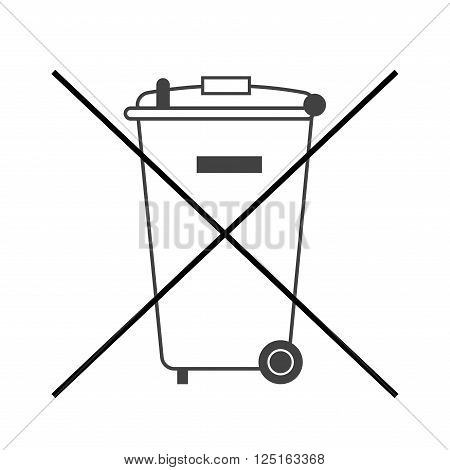 No trash bin icon. Crossed litter. Container recycle. Symbol of garbage rubbish dump. Prohibited element label public information. Black warning sign isolated on white background Vector illustration