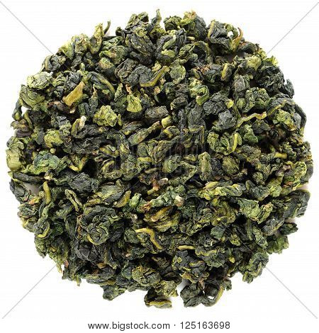 Te Guanin Anxi oolong overhead view isolated