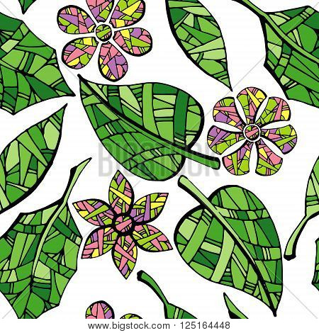 Collection of garden leaves on white background. Colorful hand drawn seamless vector stock illustration