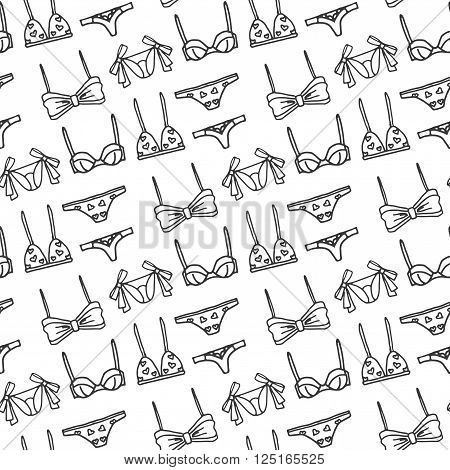 Lingerie seamless pattern. Vector underwear background design. Outline hand drawn illustration. Bras and panties doodle. Fashion feminine wallpaper.