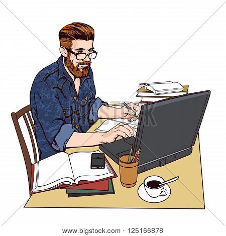 A hipster man in a jeans jacket sits at a table. Writer, journalist, scholar, student write his work in the computer. Work on the Internet. On the table, a lot paperwork. The process of study. poster