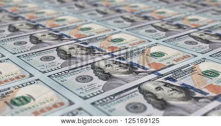 Uncut sheet of printed 100 dollar notes