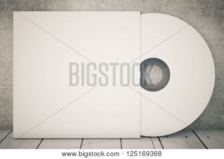 White compact disk on concrete background. 3D Rendering