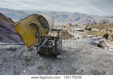 Empty mine cart at the entrance of Cerro Rico silver mine, Potosi, Bolivia