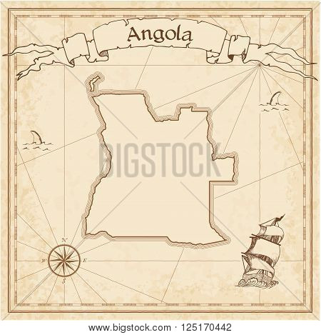 Grunge Vector Treasure Map Of Angola. Stylized Old Pirate Map Template With Banner Ribbon And Countr