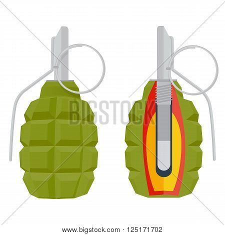 hand grenade vector illustration. grenade isolated on white background