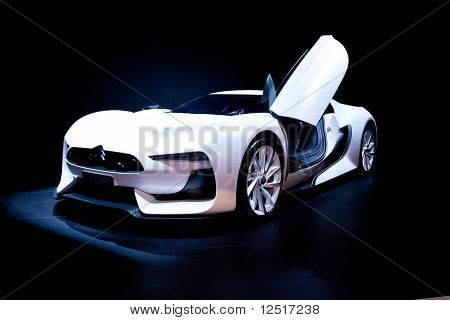 Moscow, Russia - August 25: White Sport Car Citroen At Moscow International Exhibition Interauto On