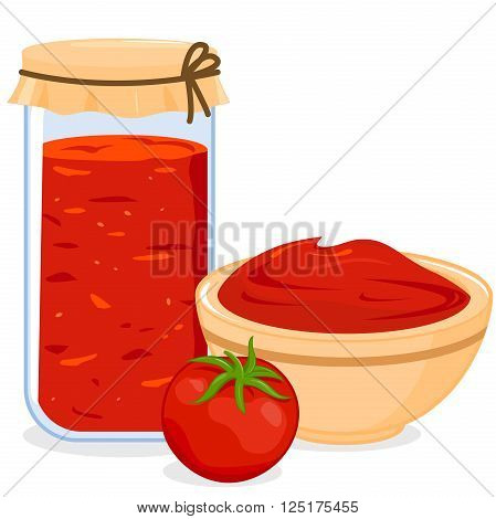 Vector illustration of a jar filled with homemade tomato sauce, a bowl filled with tomato sauce and a tomato.