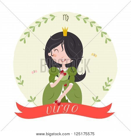 Cute zodiac sign - Virgo. Cute cartoon character - princess virgo with hearts in hands. Vector illustration on white background.