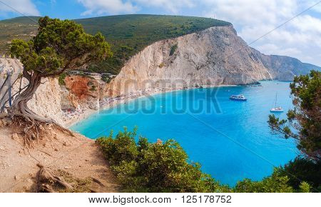 Beautiful view of Lefkada's island. Porto Katsiki beach, west coast of Lefkada, Ionian Islands, Greece