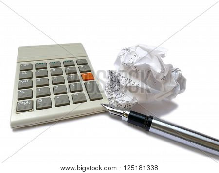 Calculator, Ink Pen And Crumpled Receipt Ball Isolated On White