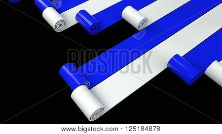 blue and white plastic rolls unrolling on black background 3d render
