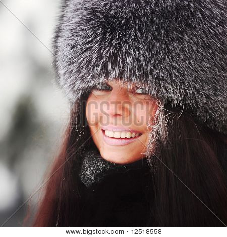 winter women close up portrait