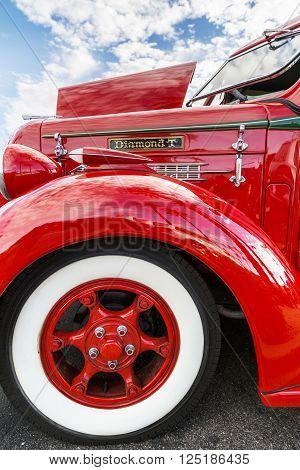 SCOTTSDALE AZ - SEPTEMBER 5: Fender details  on a Classic Diamond T Pickup Truck September 5 2015 in Scottsdale  Arizona