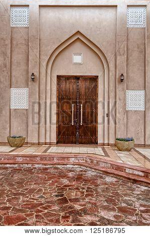 Traditional Arabic entry door in Doha Qatar