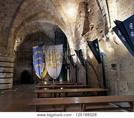 ACRE ISRAEL - MARCH 02 2016: Dining room in the Crusader city of Akko