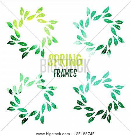 Elegant green watercolour contour floral frame on white background. Design template for banner, card, monogram, invitation, label, emblem etc. Vector illustration.